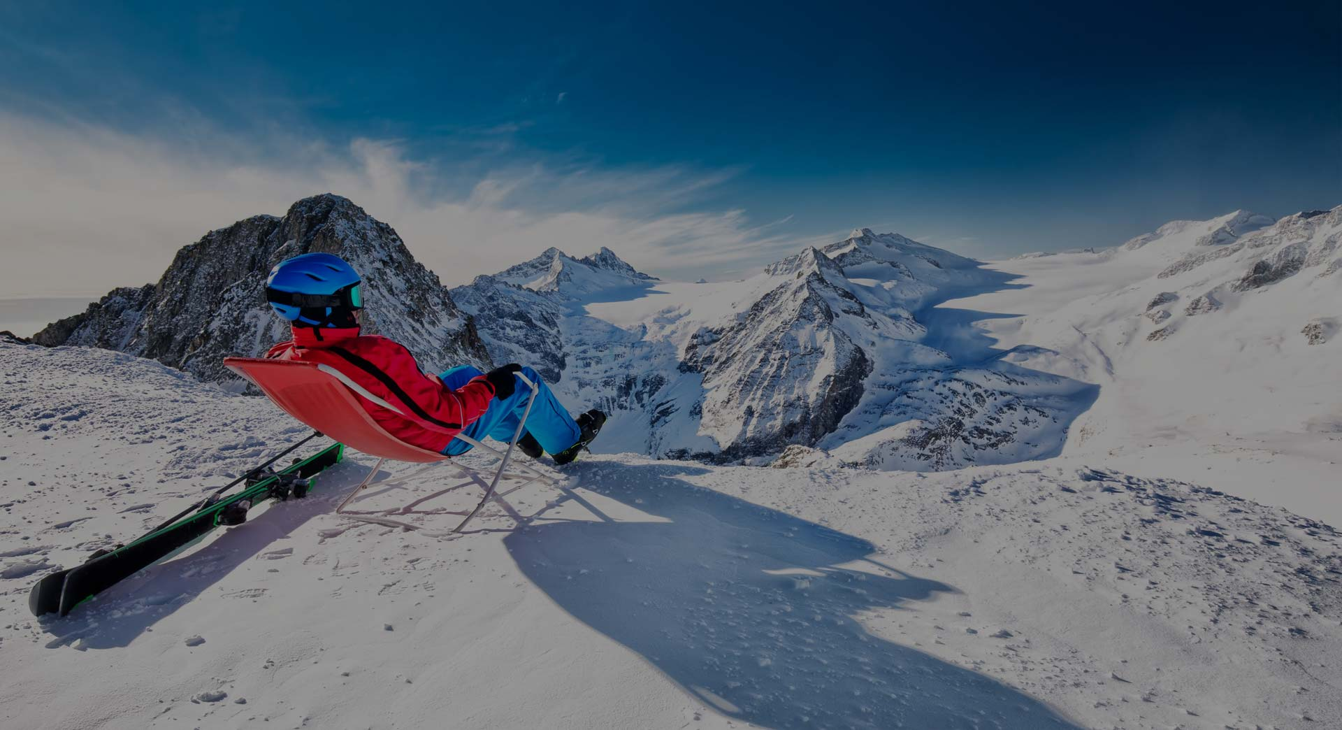 Skier relaxing on the Tonale pass