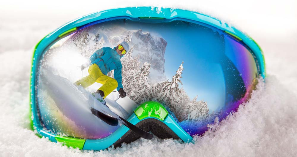 Ski goggles available at Delpero shop with skier reflex with rented equipment at Delpero rental